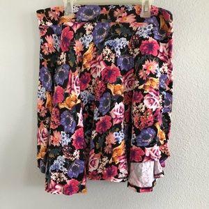 Colorful floral collage skater skirt
